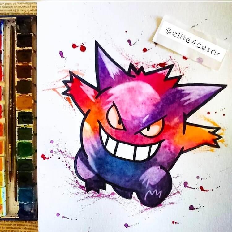 gengar pokemon watercolor