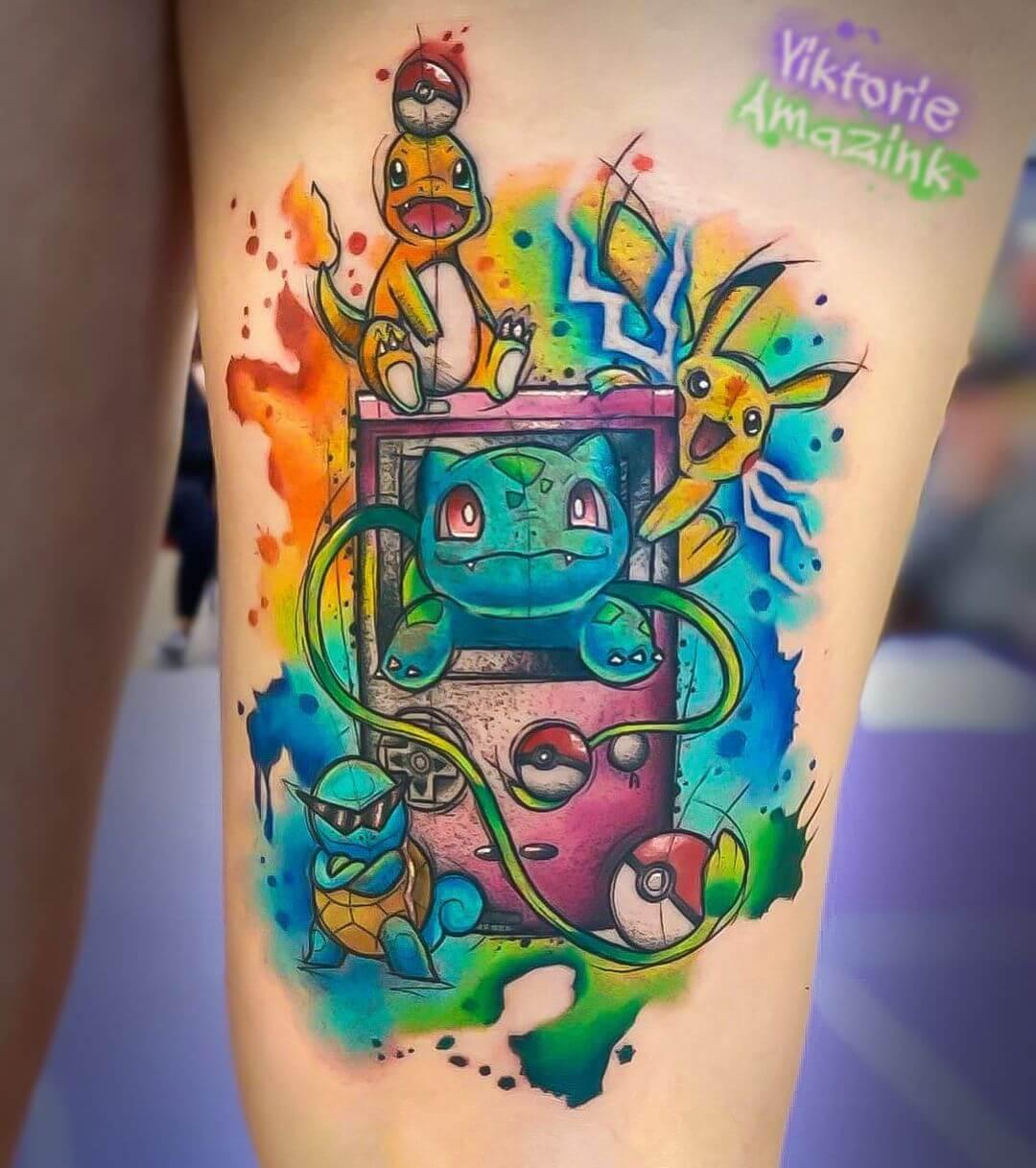 colorful pokemon tattoo