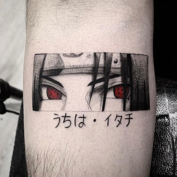 Itachi tattoo with sharingan