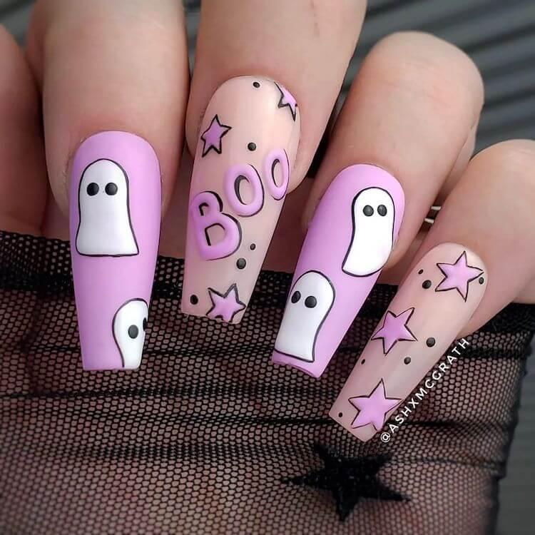 purple halloween nails