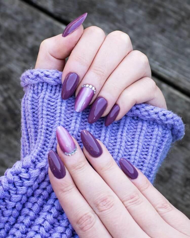 purple nails with rhinestones