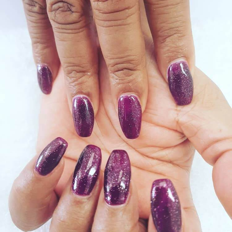 purple nails with silver glitter