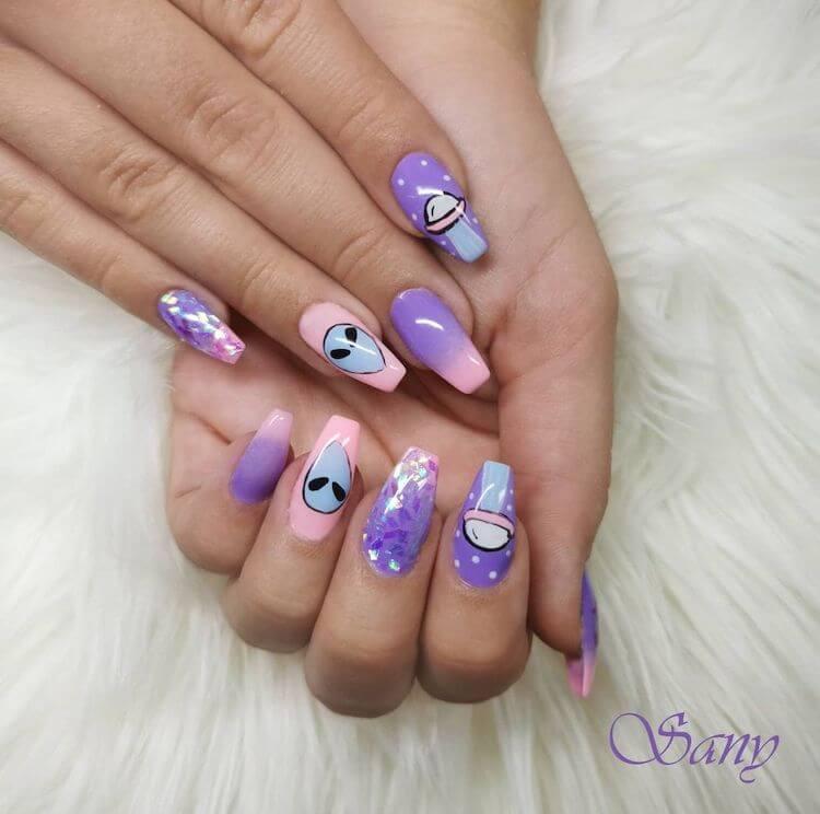 ufo galaxy nails