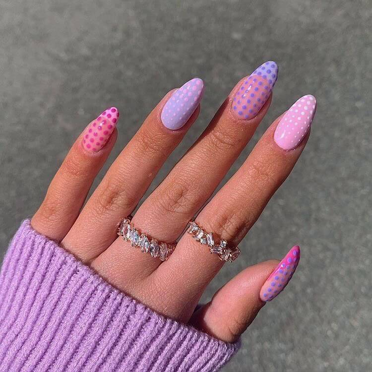 dotted purple and pink nails