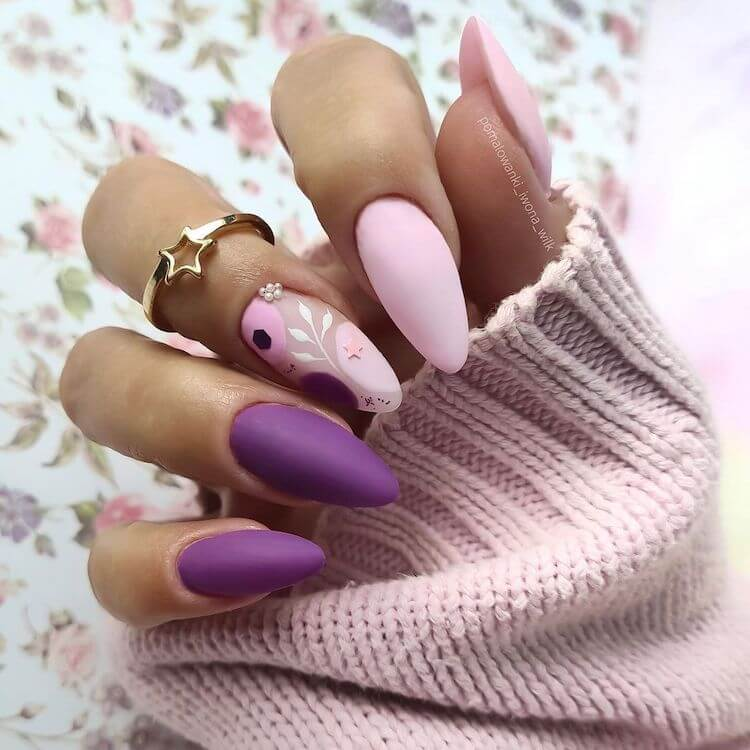 purple nails with flowers