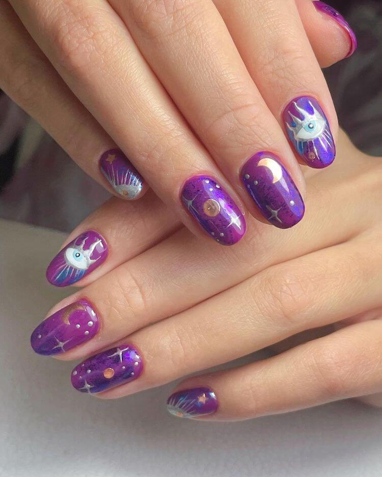 evil eye purple nails